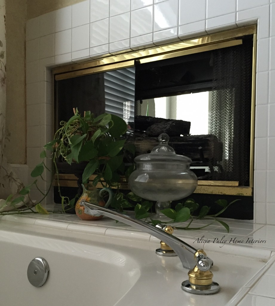 Master bathroom fireplace